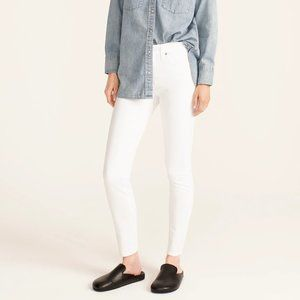 """J.CREW 9"""" High-Rise Toothpick Jean in White Superskinny Leg Stretchy Denim"""